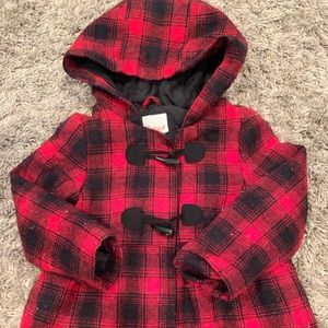 Cat and Jack Plaid Girls Peacoat